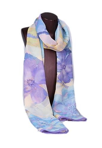 Prettystern HL719 - 180cm X55cm lunga sciarpa di seta - fiori di fioritura - disponibile in 4 colori