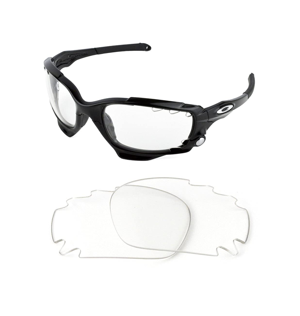 2c0234e9b58 NEW REPLACEMENT CLEAR LENS FOR OAKLEY RACING JACKET SUNGLASSES   Amazon.co.uk  Clothing