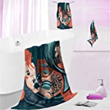 DayDayFun Towel Sets for Bathroom Underwater 3 Piece Towel Sets for Bathroom Tattoo Master Sailor S - Contain 1 Bath Towel 1 Hand Towel 1 Washcloth