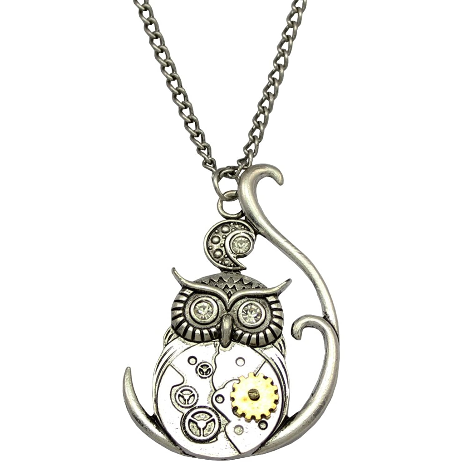 Vintage Style Jewelry, Retro Jewelry Vintage Ornate 3D Owl Moon Watch Clock Hand Gear Cog Steampunk Chain Fancy Dress Necklace $8.49 AT vintagedancer.com