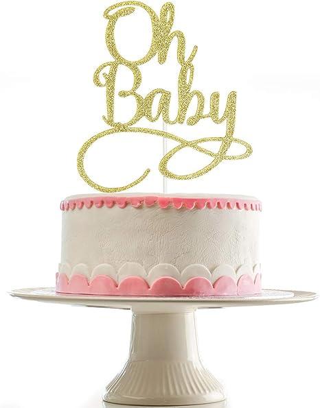 Oh Baby Cake Topper Gold Baby Shower Topper Glitter Cake Topper