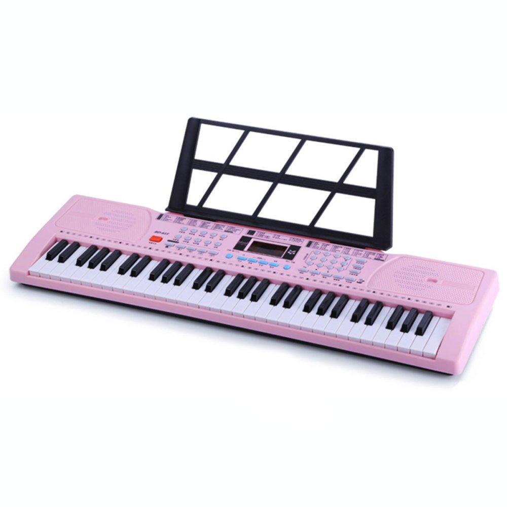 KYOKIM KYOKIM KYOKIM Teclado Multifuncional para Nintilde;os Teclado De Piano De 61 Teclas con Microacute;fono Cable De Alimentacioacute;n (Rosa Negro Oro Rosa),A aadd59