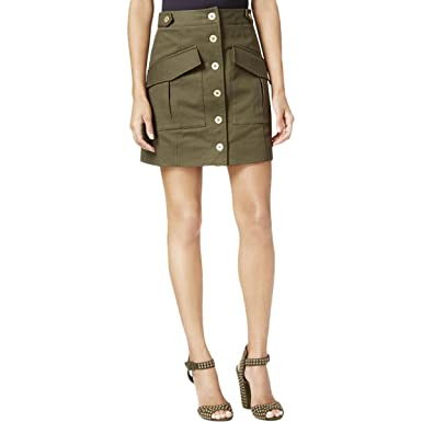 4a05d4b9aa RACHEL Rachel Roy Womens Denim Utility Cargo Skirt Green 4 at Amazon  Women's Clothing store: