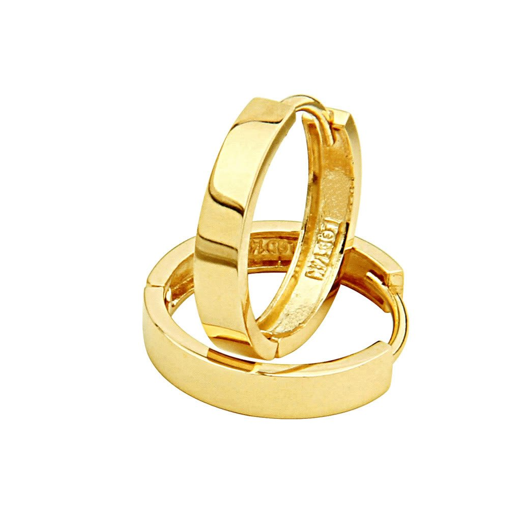 14k Yellow Gold 3mm Thickness Hoop Huggie Earrings (14 x 14 mm)