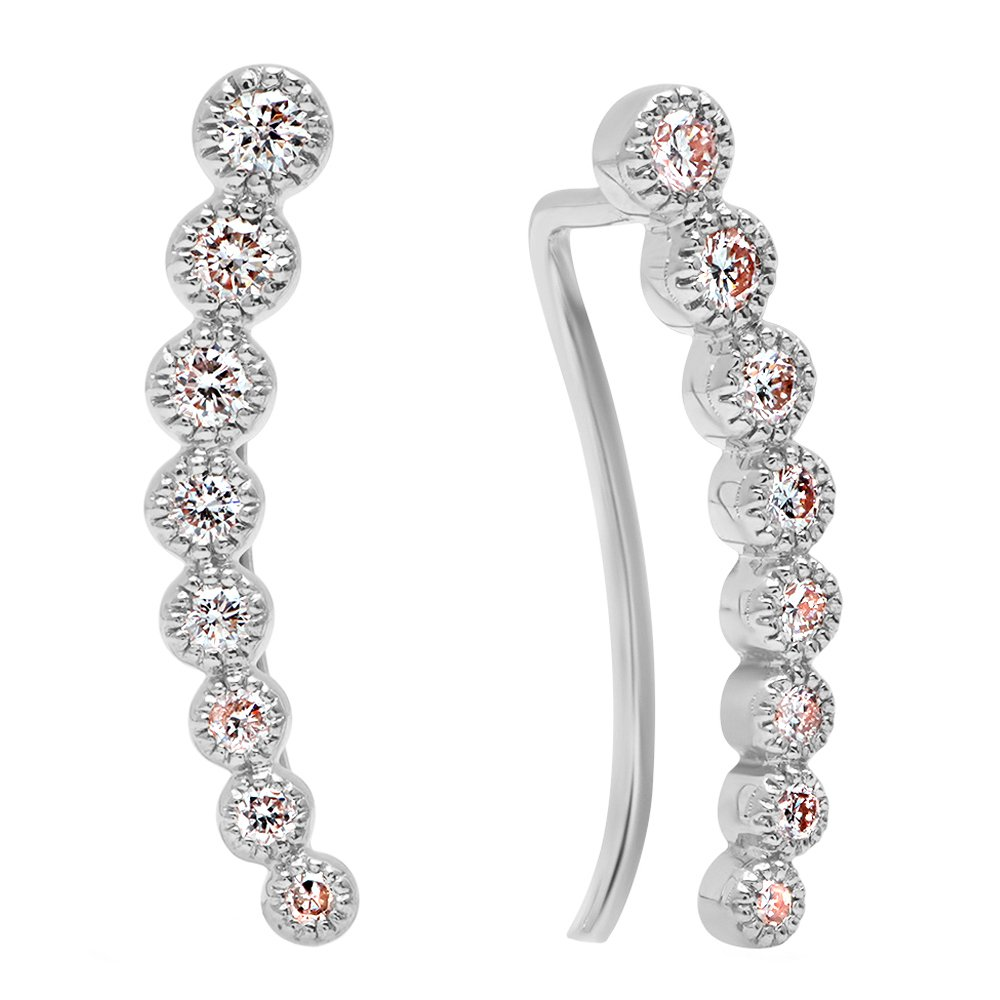 0.40 Carat (ctw) 18K White Gold Round White Diamond Ladies Journey Curved Climber Earrings