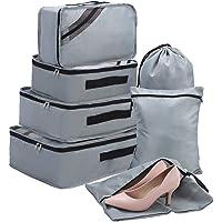 Packing Cubes Set 7-teilig, Faxsthy Packwürfel Packtaschen Kleidertaschen für Kleidung Unterwäsche Kosmetik Wasserdich für Reise Geschäftsreisen Urlaube und Wohnmobile