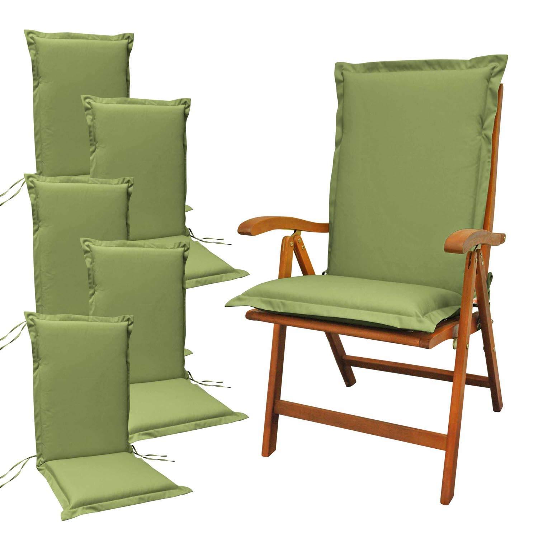 Indoba 6 x Sitzauflage Hochlehner Premium-extra dick Serie Premium-IND-70472-AUHL-6 Polsterauflage, Grün