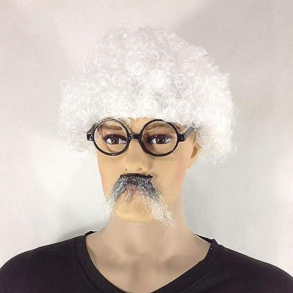 SeSDY Peluca Einstein Peluca Cabeza de explosión Hombres y Mujeres Realista Mullido Blanco Adulto Universal Etapa