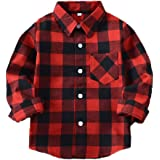 Yinggeli Little Big Boys' Long Sleeve Button Down Plaid Flannel Shirt 2-8 Years