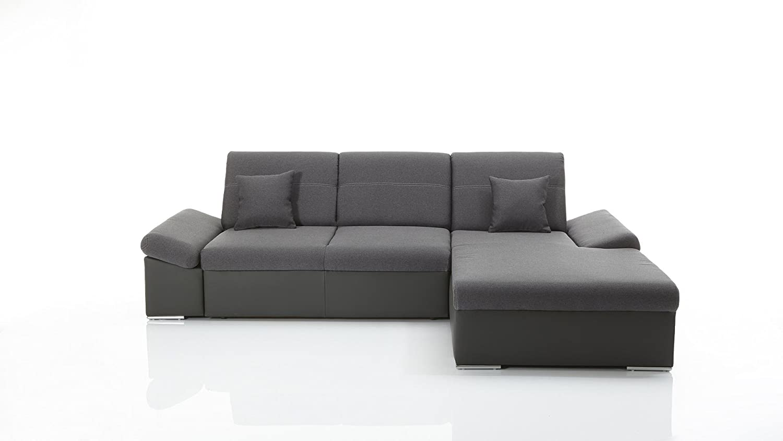 Ecksofa mit Funktion grau Stoff Kunstleder Couch Eckgarnitur ...