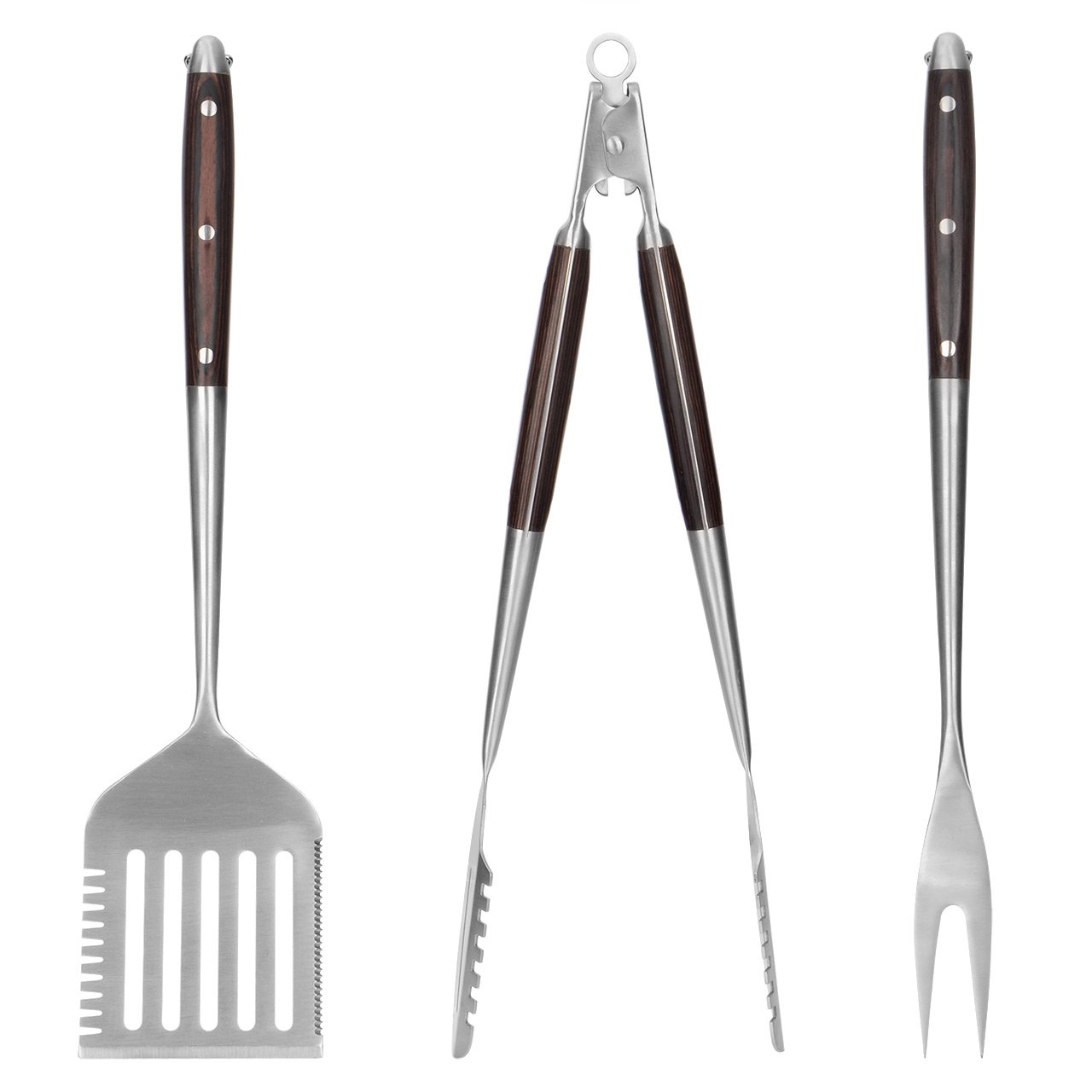 LIVINGbasics 3-Piece Heavy Duty BBQ Grilling Tools Set, Grilling Tongs, Grill Fork and 3 in 1 Spatula, Non-Slip Handles Barbecue Set