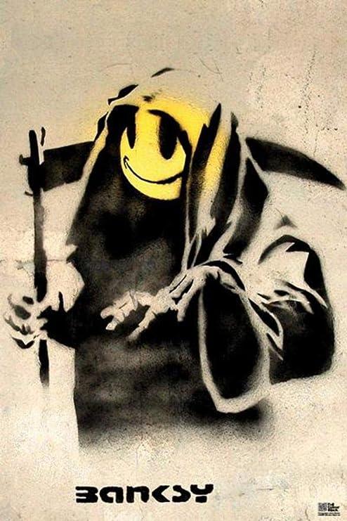 "Banksy Grin Reaper 24/""x36/"" Canvas Art Print"