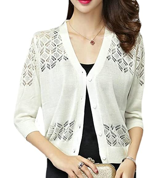 d6849ea125 Papijam Womens Knit Button Down Hollow Out V-Neck Sweater Cardigans Beige L  at Amazon Women s Clothing store