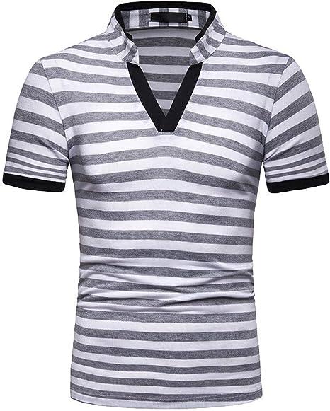 Camisa para Hombre Manera Ocasional de Hombres Verano del Soporte de Collar de la Raya del Empalme Blusa Superior Camisa Negra Crop Top Camisas Hombre Camisas Manga Corta Hombre Camisa Verde Jodier: