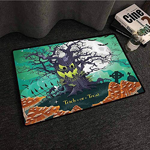 Halloween Outdoor Door mat Trick or Treat Halloween Theme Dead Forest with Spooky Tree Graves Big Mushrooms Kids Cartoon All Season General W24 xL35 Multi]()