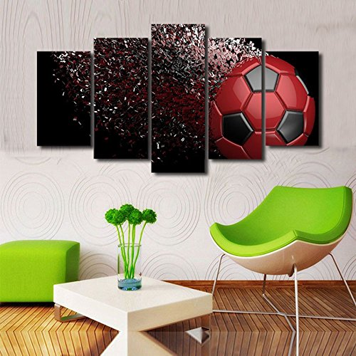 Soccer Oil Painting - Painted Oil Painting on Canvas Soccer Abstract Football Painting Landscape Paintings Modern Home Decor Art Wall Painting Ready to Hang 5 Panels