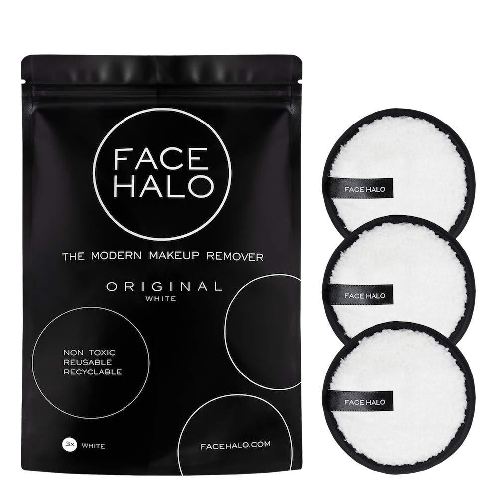Face Halo | Original Reusable Makeup Remover Pads, Black Round Makeup Remover Pads for Heavy Makeup & Masks - Microfiber Makeup Remover Wipes for Mascara, Eye Shadow, Lipstick, Foundation (Pack of 3)