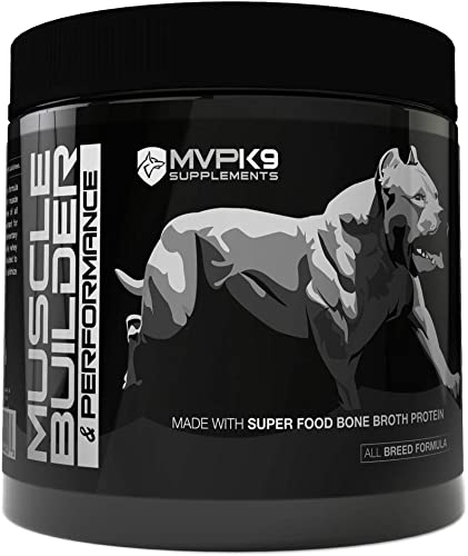 MVP K9 Supplements Muscle Builder Performance for Dogs – Supports Muscle Endurance, Performance and Recovery. Now Contains Bone Broth Superfood Protein
