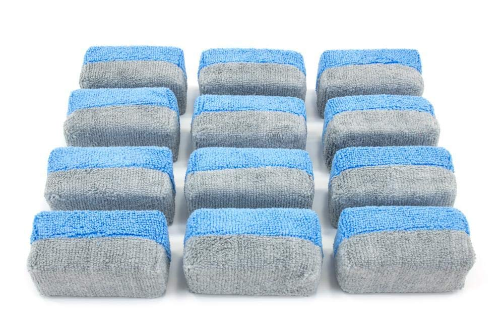 [Saver Applicator Terry] Microfiber Terry Applicator Sponge with Plastic Barrier Blue & Gray - 12 Pack (Thin) Autofiber