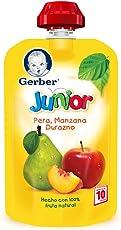 Gerber Junior Snack Manzana, Pera y Durazno, Etapa 4 (Paquete de 12)
