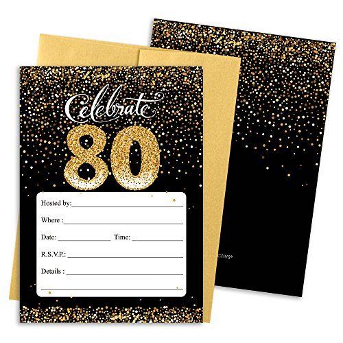 80th Birthday Party Invitation Cards with Envelopes, 25 Count (Black and Gold) (Birthday Party Invitation Invite)