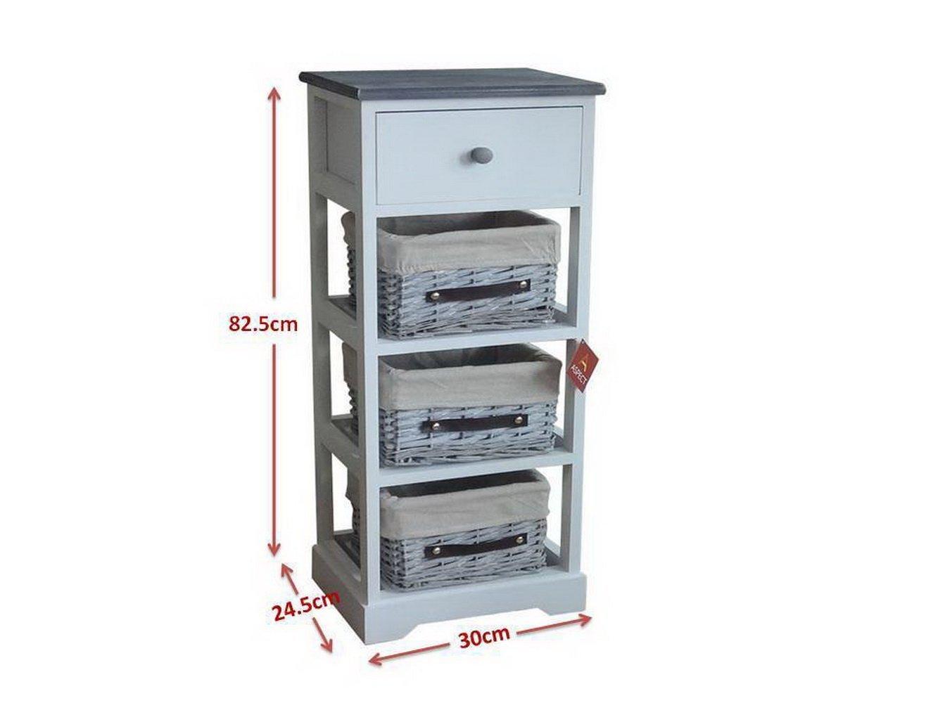 Aspect Nantes Frame Wicker Drawer Storage Unit, Wood, White