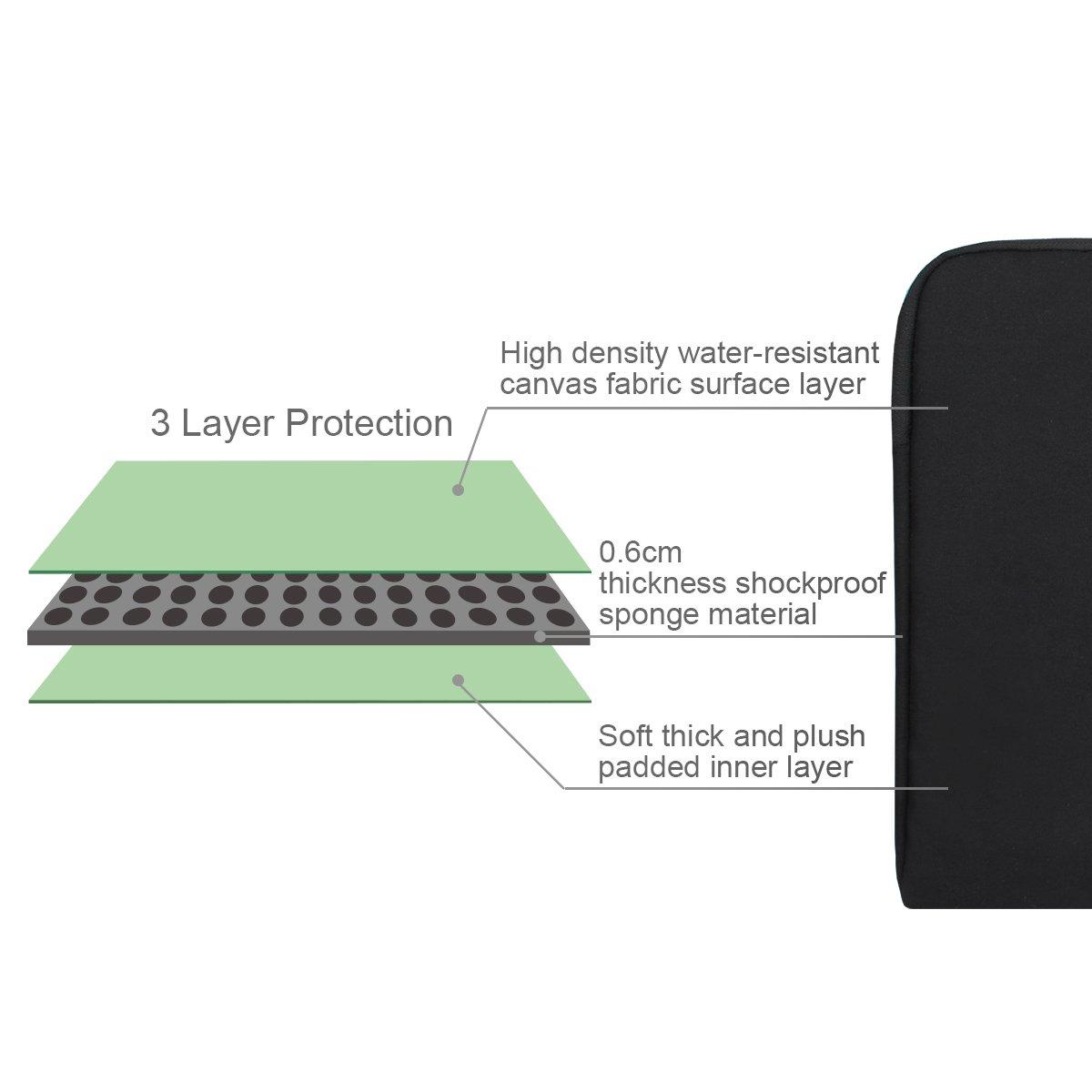 Arvok 15 15.6 Inch Multi-Color & Size Water-resistant Laptop Sleeve Bag with Handle/Notebook Computer Case/Ultrabook Briefcase Carrying Bag, Black by ARVOK (Image #5)