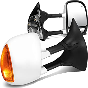 Signal For Ford F-Series Super Duty Pair of Black Powered Heated Glass Manual Extenable Side Towing Mirrors