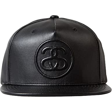 Stussy 3D SS Link Leather Cap Black  Amazon.co.uk  Clothing 565b5f894d8
