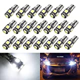 Boodled T10 Canbus LED White Car Lamp Bulbs T10 W5w 5 SMD 5050 Super Bright 194 168 2825 Wedge LED Car Lights Source Replacement Bulbs Side Map Interior Lamps Canbus-T10-5SMD-5050 Pack of 20 (20xT10-5050-5-W-JM)