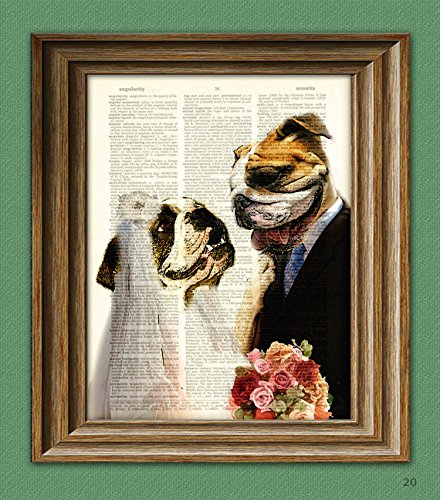 Bulldog Art Print Tiff and Nick BULLDOG Wedding bride