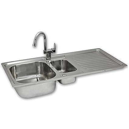 Kukoo Stainless Steel Kitchen Sink Basin Confetti Tap Reversible 1 5 Bowl 105cm X 18cm X 50cm