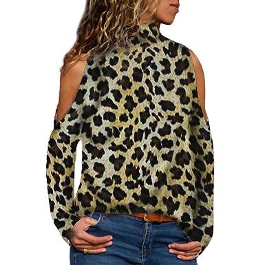 K-Youth Blusas Mujer Elegante Leopardo Ropa de Mujer en Oferta Hombro Frío Camisas Casual
