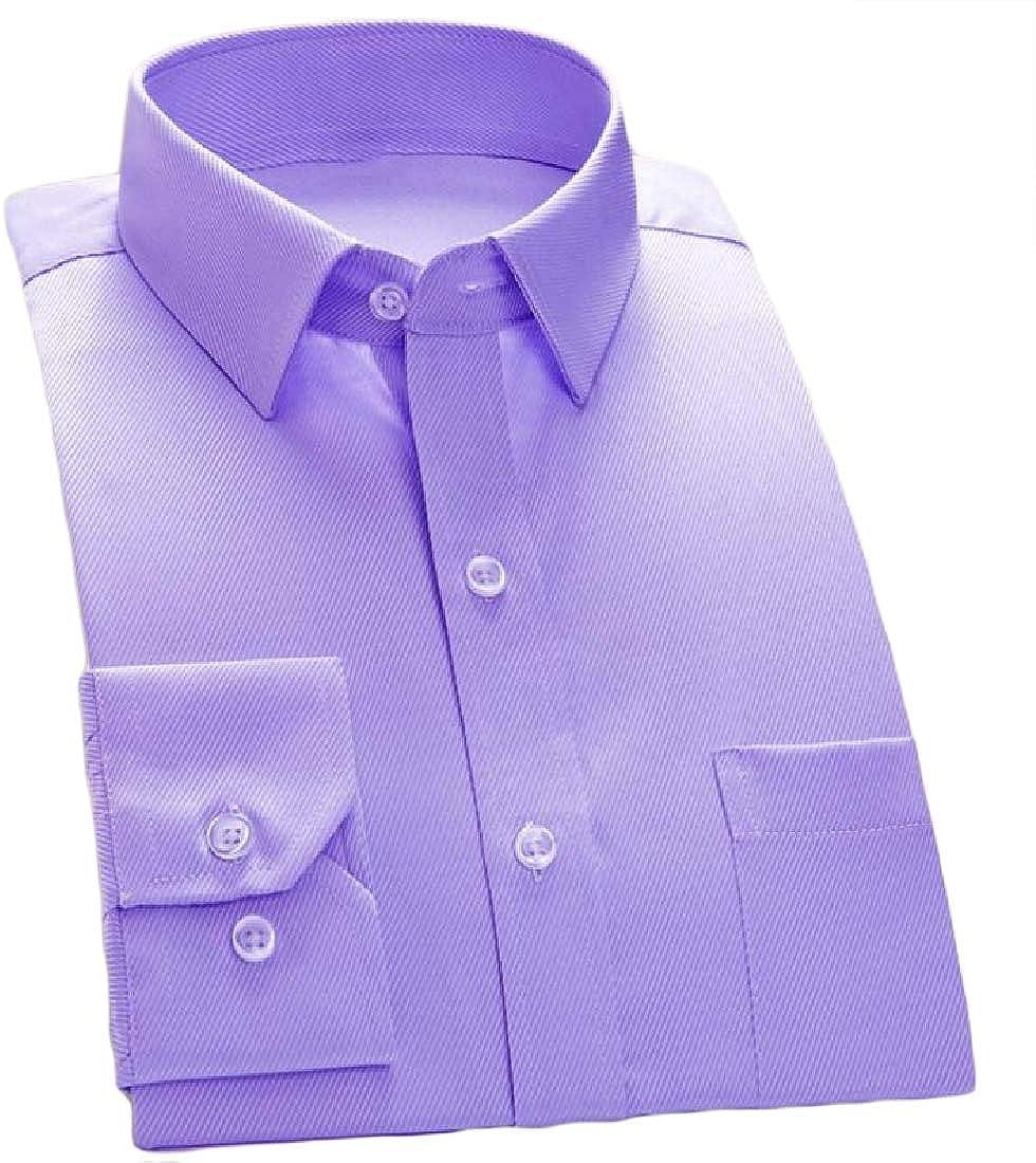 YUNY Men Basic Cotton Button Business Long-Sleeve Solid Slim Shirts Purple XS
