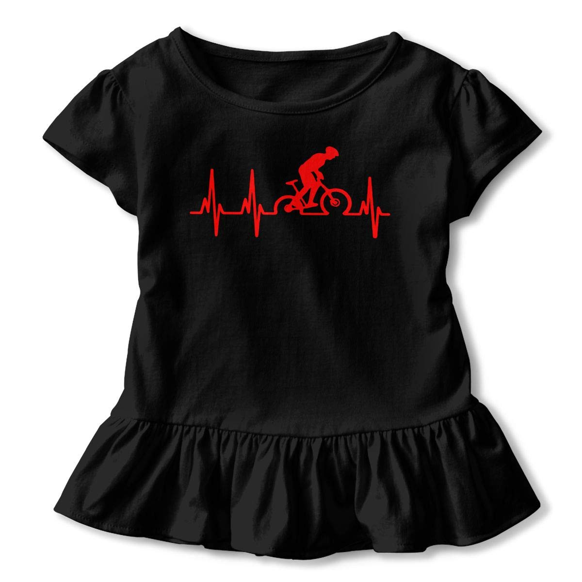 Heartbeat Bycicle Toddler//Infant Girls Short Sleeve T-Shirts Ruffles Shirt Tee Jersey for 2-6T