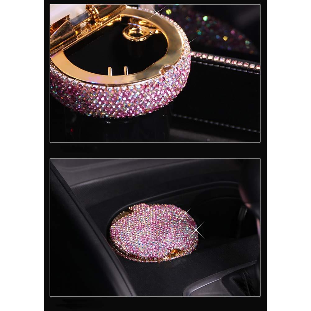 WYW Crystal Sparkled Diamond Auto Aschenbecher mit LED-Licht Zigarre Aschenbecherhalter Rauch Aschenbecher Cup Holder Lagerung Autozubeh/ör