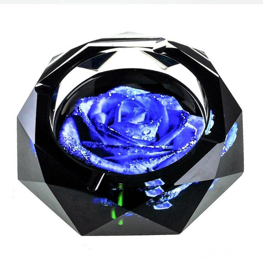 Xuan - worth having 3Dブルーロータスカラー印刷スタイルクリスタルガラス灰皿ファッション創造的なパーソナリティギフト煙とリビングルーム (サイズ さいず : 20*20*4cm) 20*20*4cm  B07D5VTFCD