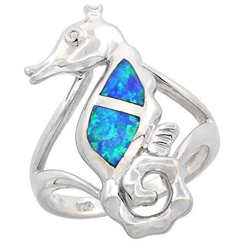 Sterling Silver Blue Synthetic Opal Seahorse Ring for Women CZ Accent 1 1 16 inch