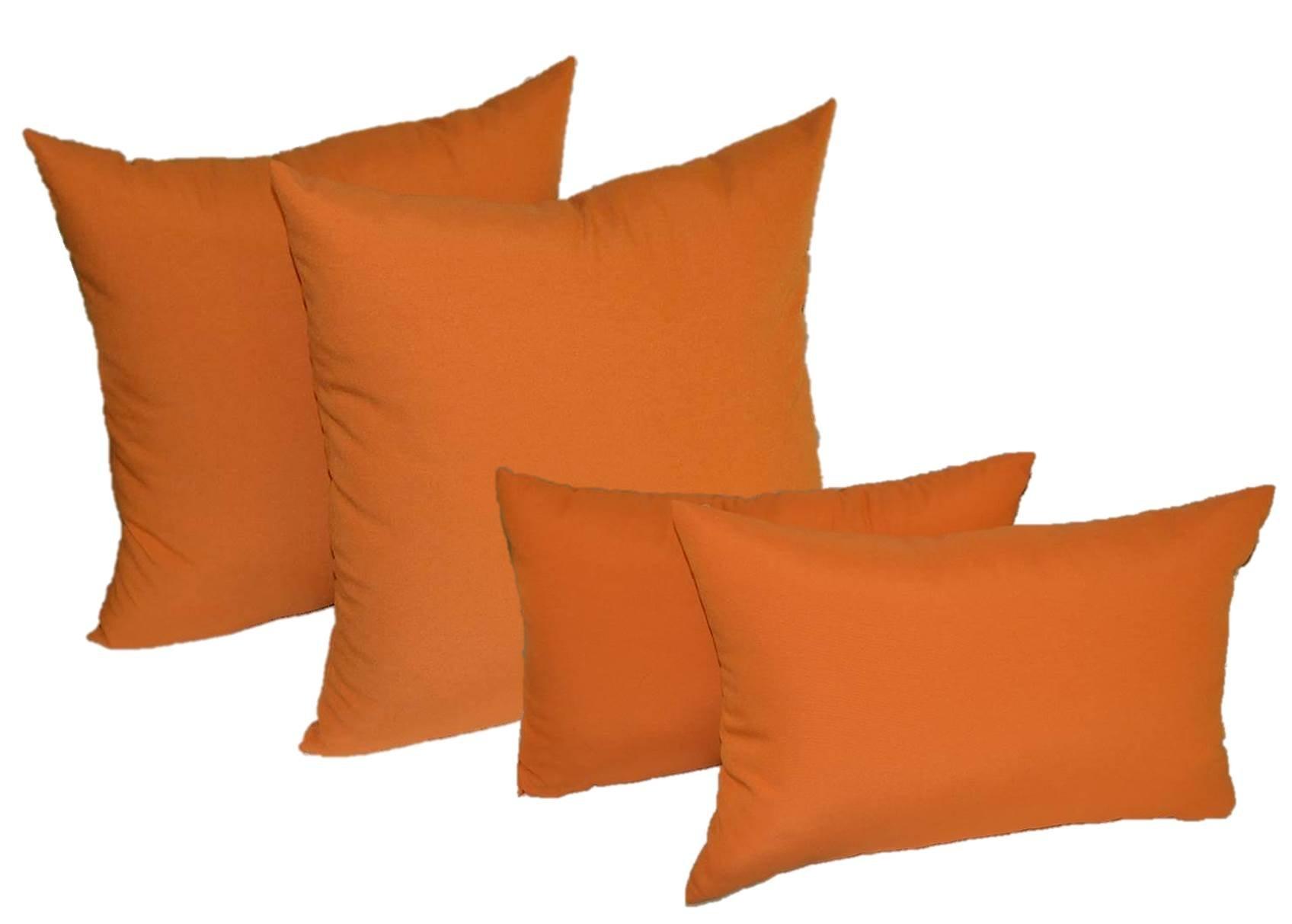 Set of 4 Indoor / Outdoor Pillows - 2 Square Pillows & 2 Rectangle / Lumbar Decorative Throw Pillows - Elegant Solid Harvest Orange - Choose Size (17'' x 17'' square & 11'' x 19'' lumbar)