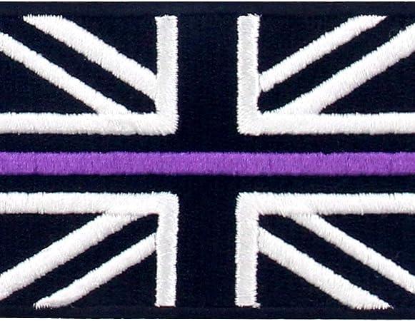 Linea Azul fina Bandera de Gran Bretaña del Reino Unido Parche Bordado de Aplicación con Plancha: Amazon.es: Hogar