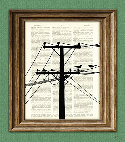 (POWER LINES with BIRDS Electrical Tower Pole and Wires print over an upcycled vintage dictionary page book art)