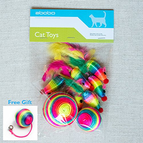 abobo Cat Toys - Rainbow Rattle rope balls/Mouse with Feather Tail for Pets/Cat/Kitten– 8 Pcs+1 Gift by abobo (Image #6)