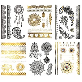 Large Temporary Henna Metallic Tattoos – Over 50 Mehndi Mandala Designs, Gold Silver Black (6 Sheets) Terra Tattoos Shay Collection