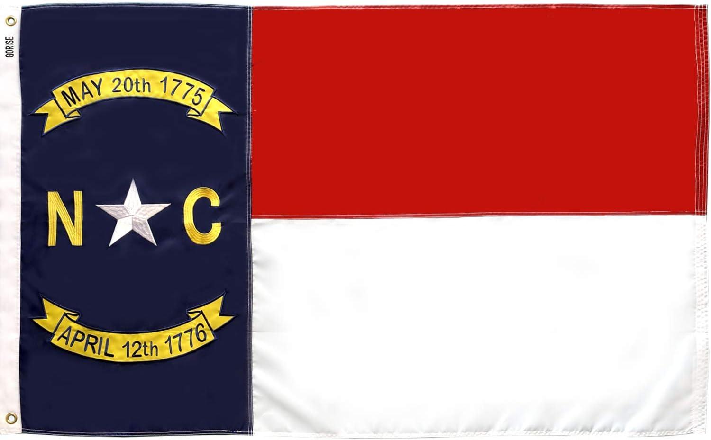 GORISE North Carolina State Flag 3x5 ft Embroidered NC Flags, State Flags of North Carolina Durable for Outdoor Garden Decor (North Carolina 3x5 ft)
