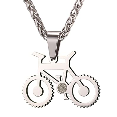 e707b074aa4d Image Unavailable. Image not available for. Color  U7 Men Cool Bicycle  Jewelry Stainless Steel Wheat Chain Bike Pendant Necklaces