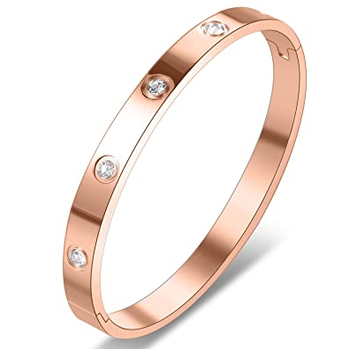 7b3209174 Yeemer Stainless Steel Love Bracelet Bangles with Diamonds Crystals for  Mom,Girls Gold Silver Rose Gold Colors (6.7 inch(17cm) Rose Gold):  Amazon.ca: ...