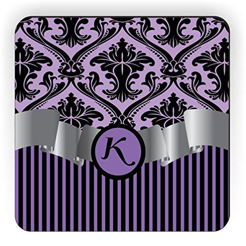 (Rikki Knight Letter K Initial Purple Damask and Stripes Monogrammed Design Square Fridge Magnet)
