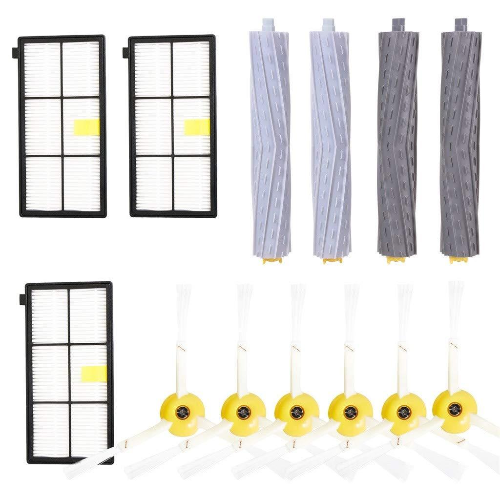 Dkings Accesorio para iRobot Roomba Serie 800 900 805 860 890 870 871 880 890 960 980-incluye Filtro, Cepillo Lateral 3-Armado, Cepillo de cerdas y Cepillo Flexible de la batidora, Tornillo