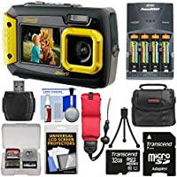 Coleman Duo 2V9WP Dual Screen Shock & Waterproof Digital Camera (Yellow) with 32GB Card + Batteries & Charger + Case + Float Strap + Kit Overview Review Image