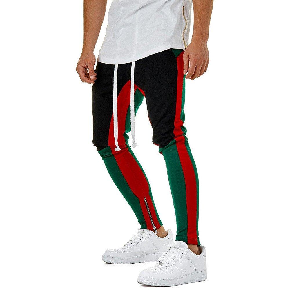 Birdfly Men's Unique Patchwork Jogging Running Casual Pencil Pants with Pocket Trouser Plus Size 2L 3L (M, Green)